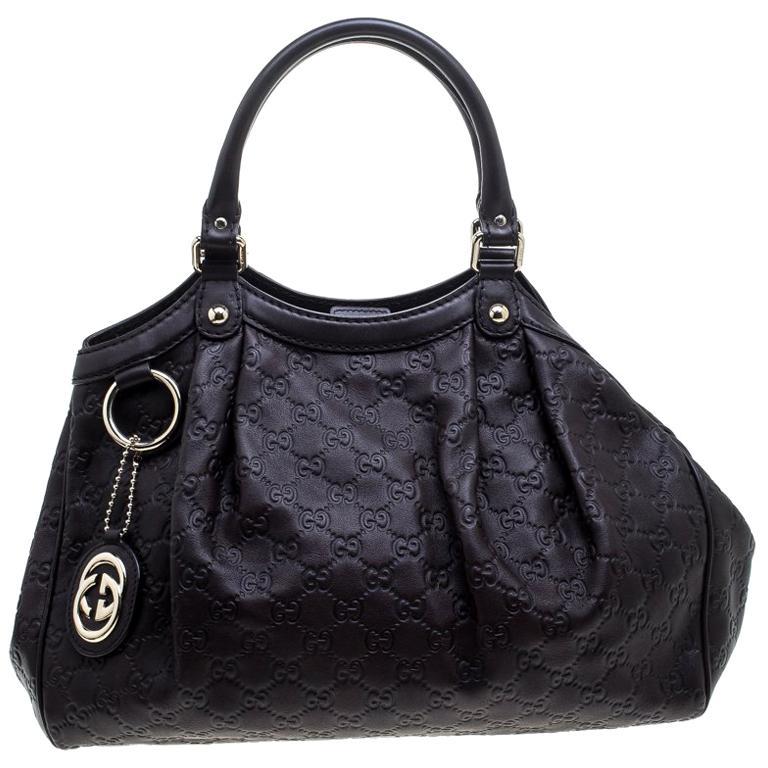 7a39118e1be6 Gucci Dark Brown Guccissima Leather Medium Sukey Tote For Sale at ...