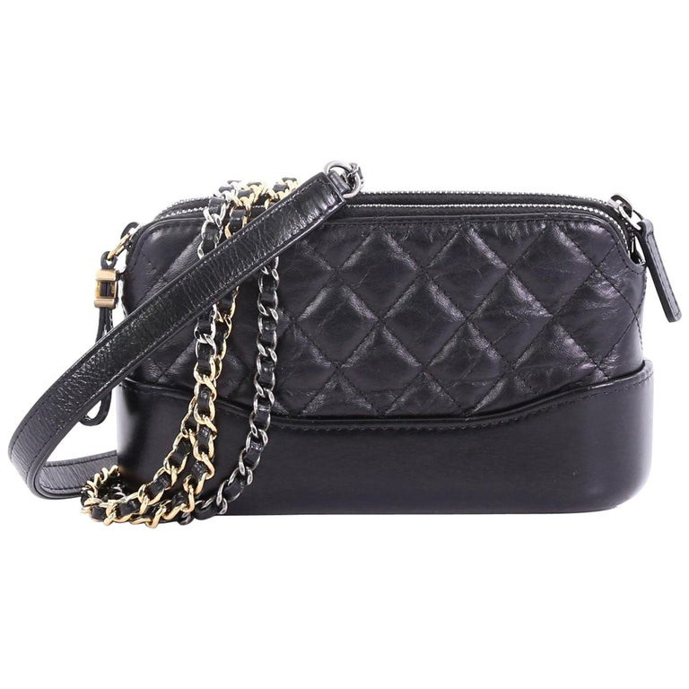 e1ac695182fb Chanel Gabrielle Double Zip Clutch with Chain Quilted Aged Calfskin For Sale