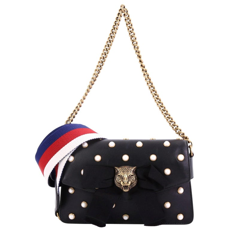 4f3cb4c80bac Gucci Broadway Pearly Bee Shoulder Bag Embellished Leather Mini For Sale