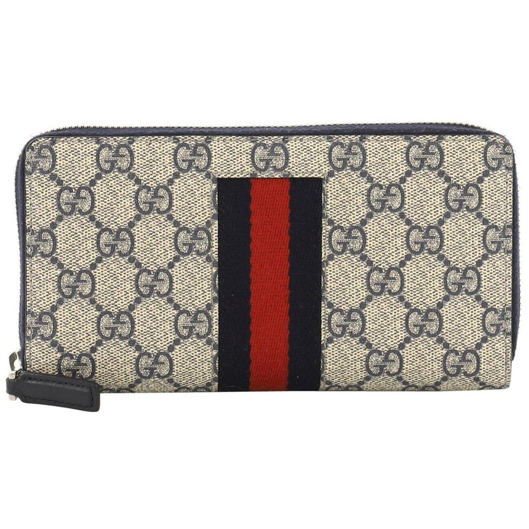85ee5c7dfb6 Gucci Web Zip Around Wallet GG Coated Canvas For Sale at 1stdibs