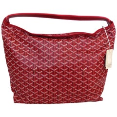 1990s Goyard Red Fidji Hobo Leather Tote Bag