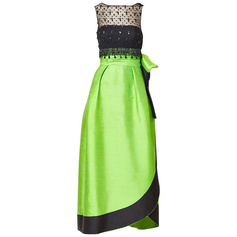 Emerald Green and Black Gown Attributted to Irene Galitzine C. 1960's For Sale