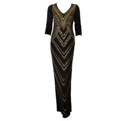 435c9eeef0563 St. John Black Long Evening Dress with Gold Embellishments