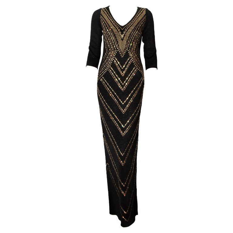 dbe46becd St. John Black Long Evening Dress with Gold Embellishments For Sale ...