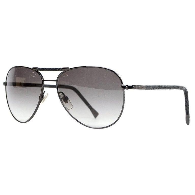 948642f19d05 Louis Vuitton Damier Graphite Gunmetal Conspiration Pilote Aviator  Sunglasses For Sale