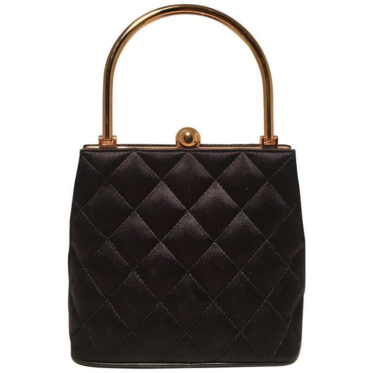 b9939d61bf76 Chanel Vintage Black Quilted Silk Gold Handle Small Evening Frame Bag For  Sale