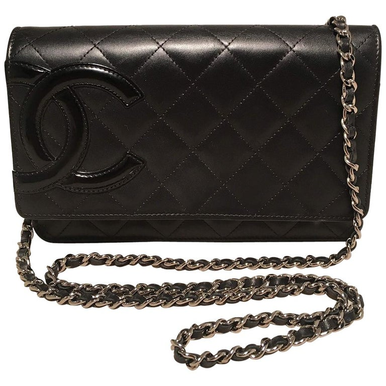66abd440d4fb27 Chanel Black Quilted Leather CC Patent Logo WOC Wallet on a Chain For Sale
