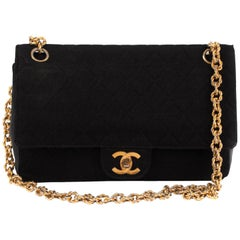 Handbag Chanel vintage in Black Jersey And Leather, GHW !