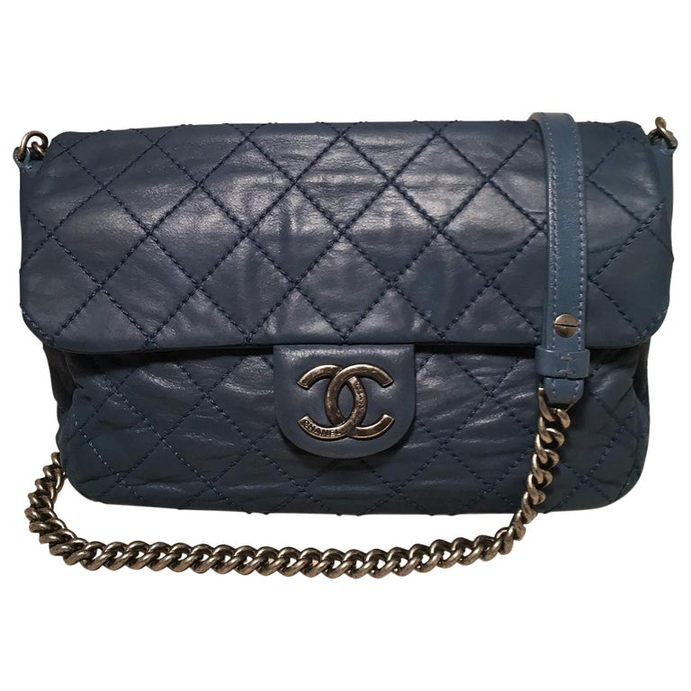 75f87787edce02 Chanel Quilted Navy Blue Coated Leather Classic Flap Shoulder Bag For Sale
