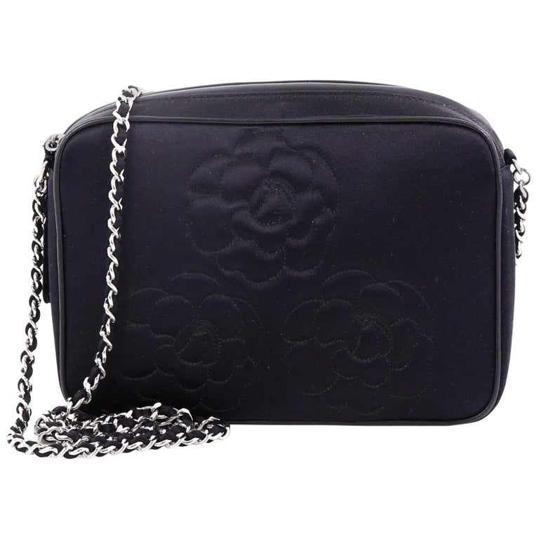 8b9d772827a6 Chanel Vintage Camellia Chain Camera Bag Satin Small For Sale at 1stdibs
