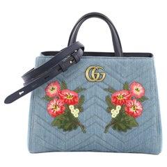 Gucci GG Marmont Tote Embroidered Matelasse Denim Small