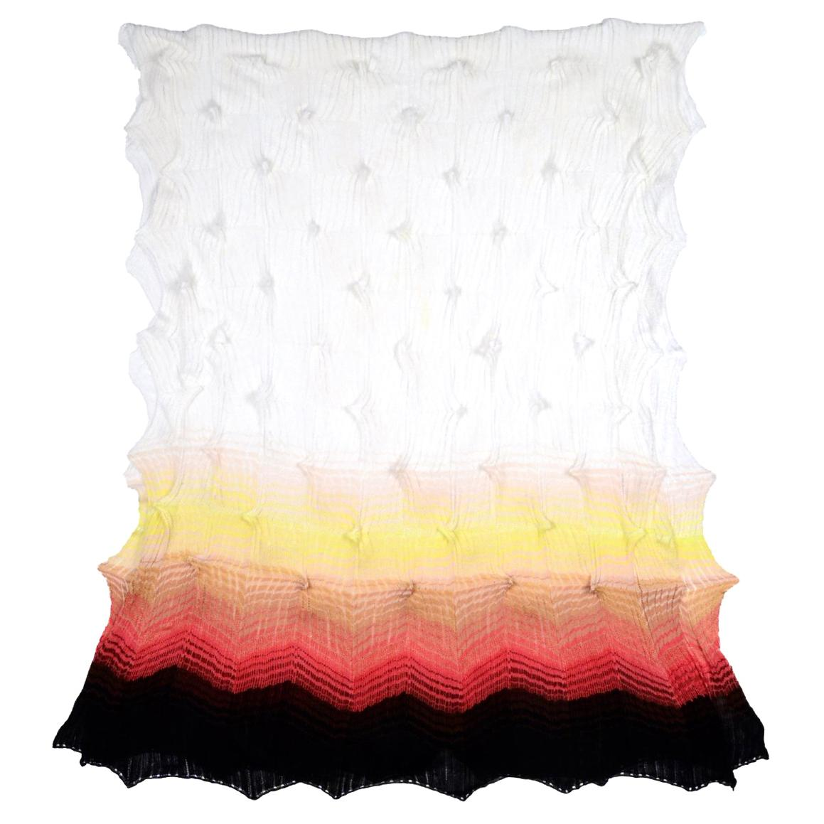Missoni White/Multicolor Chevron Knit Scarf