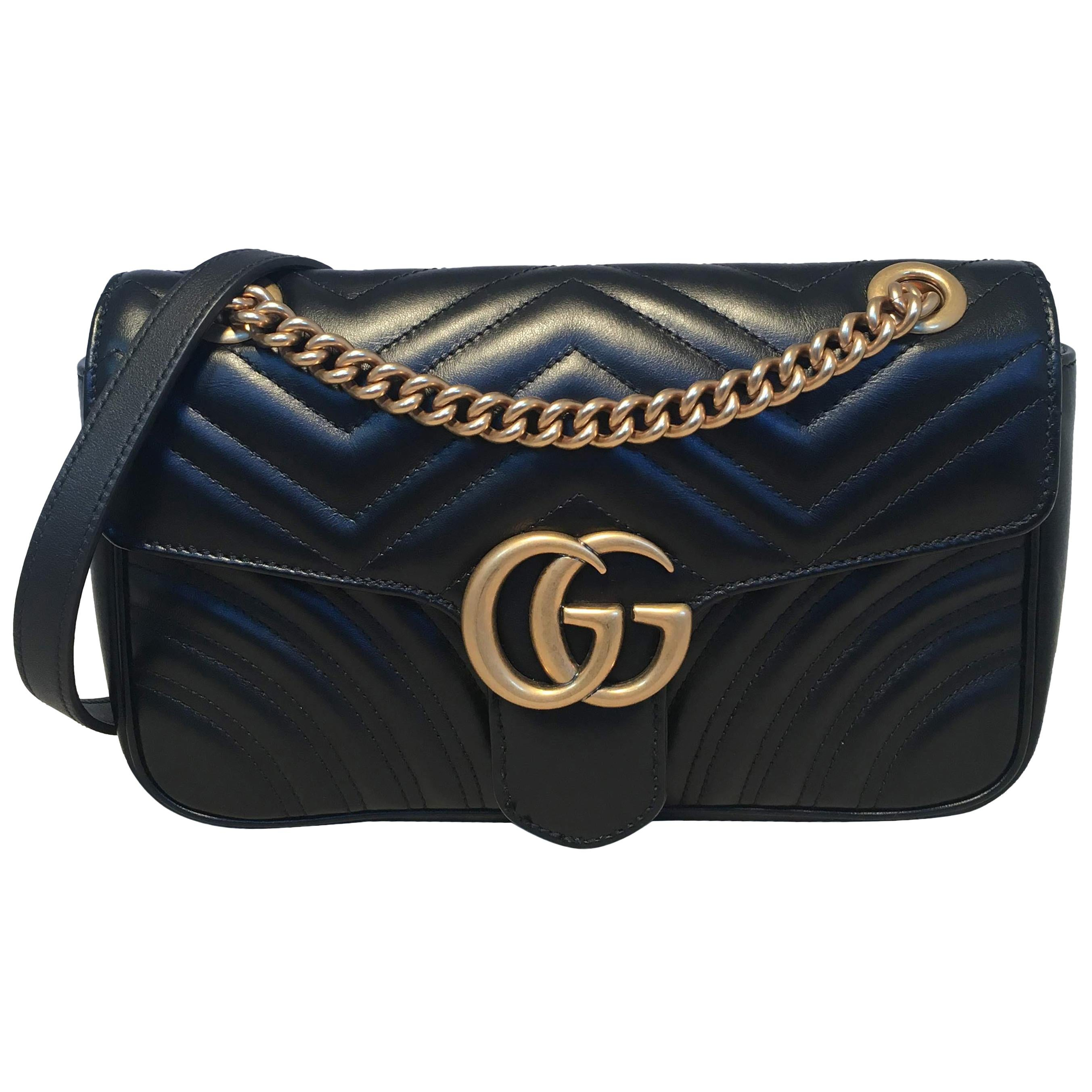 5c5306b5cfa3 Gucci GG Marmont Small Matelassé Black Leather Shoulder Bag For Sale at  1stdibs