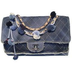 a20b237113fd Chanel Paris Dubai Denim Tassel Pom Pom Medium Classic Flap Shoulder Bag