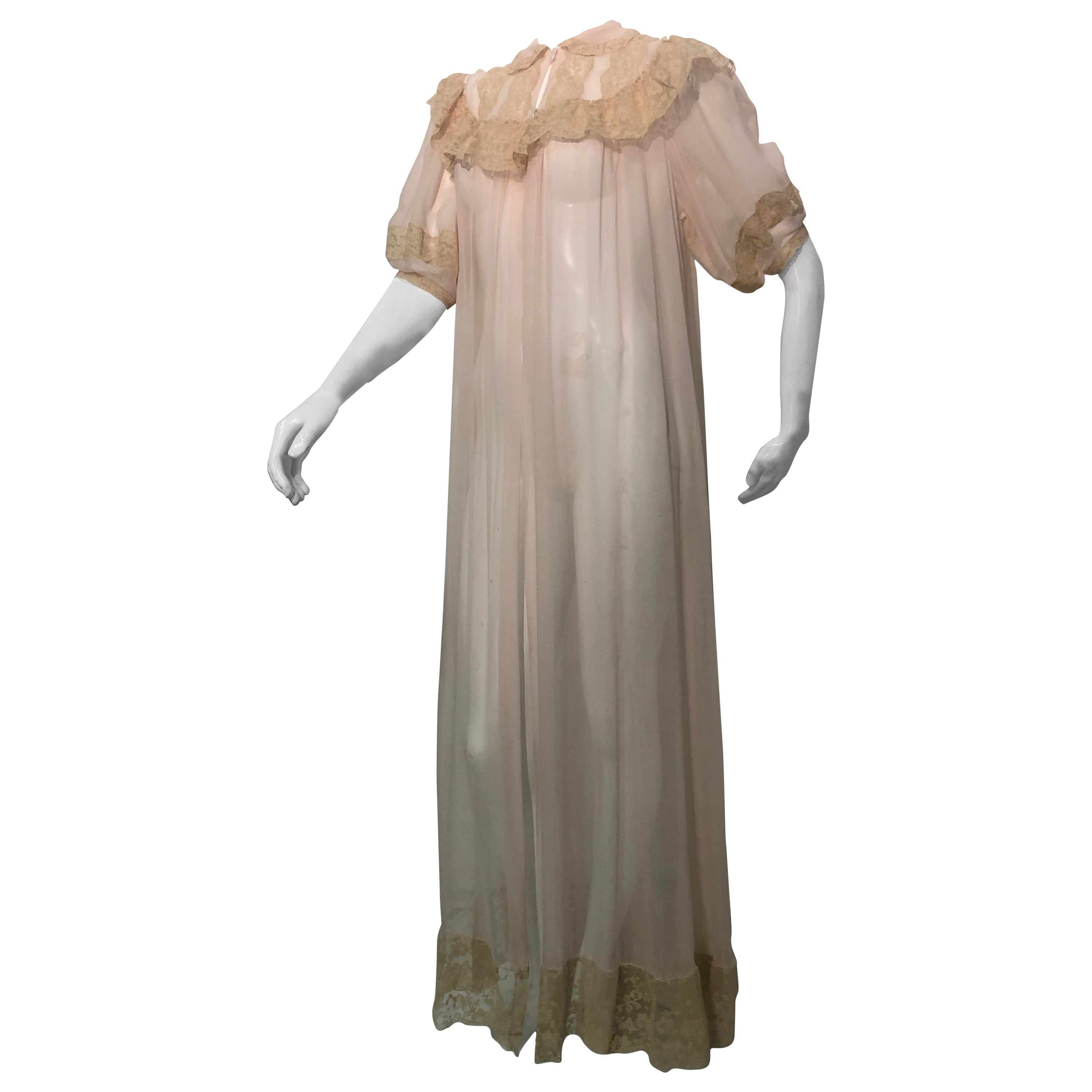 8aa145a80 1930 Pale Pink Silk Chiffon Peignoir with Ecru Lace Decolletage For Sale at  1stdibs