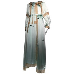 d368607c2b 1970s Nina Ricci Mint Green Silk Charmeuse   Ecru Lace 2 Piece Peignoir Set