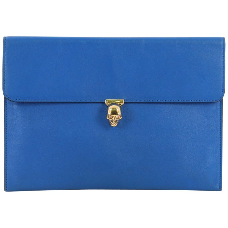 Alexander McQueen Skull Envelope Clutch Leather For Sale