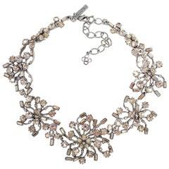 Oscar de la Renta Contemporary Crystal Flower Link Necklace, Silvertone