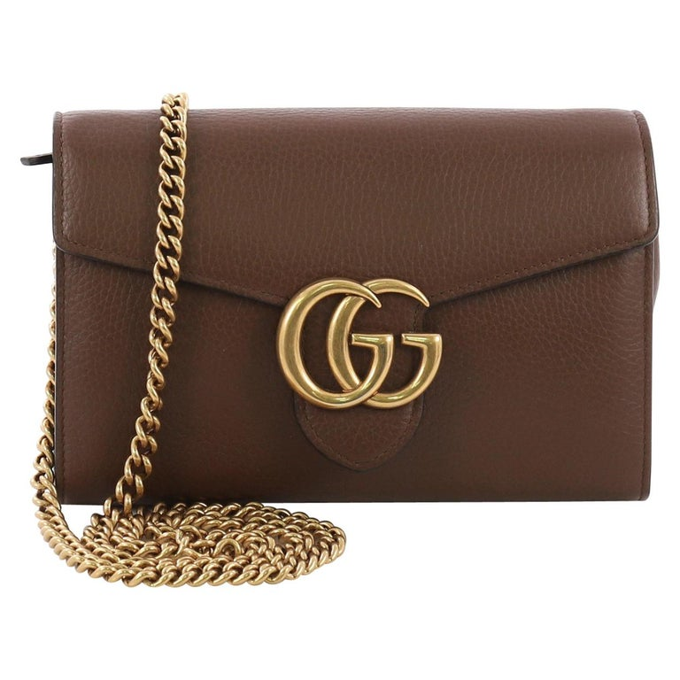 ecaa9163c2f Gucci GG Marmont Chain Wallet Leather Mini For Sale at 1stdibs
