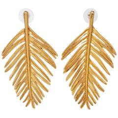 Oscar de la Renta Palm Leaf Drop Earrings In Gold