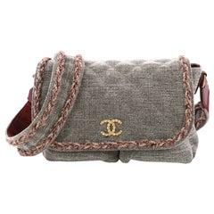 Chanel Parisian Stroll Messenger Bag Quilted Velvet Wool Medium