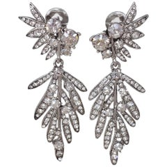 Oscar de la Renta Tropical Leaf Clear Crystal Dangling Clip On Earrings, Silver
