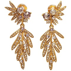 Oscar de la Renta Tropical Leaf Clear Crystal Dangling Clip On Earrings, In Gold