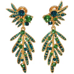 Oscar de la Renta Tropical Leaf Green Crystal Dangling Clip On Earrings, In Gold