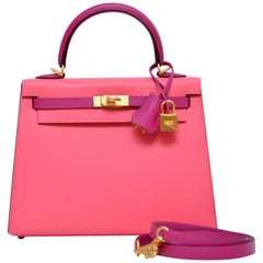 Hermes Kelly 25CM Rose Pourpre X Rose Azalee SO Gold Brush Hardware Epsom  NEW