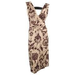 DRIES VAN NOTEN Size 8 Beige & Brown Damask Linen / Silk Tied Dress