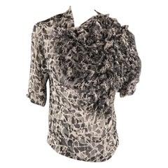 DRIES VAN NOTEN Size 8 Grey Print Silk Fringe Applique Asymmetrical Blouse
