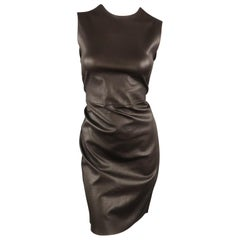 PRADA Size 6 Brown Stretch Leather Sleeveless Sheath Dress