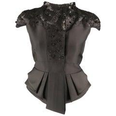 VALENTINO Size 6 Black Wool Cropped Sleeve Sequin Embellished Peplum Jacket