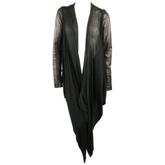 RICK OWENS Size 8 Black Leather Sleeve Long Draped Collar Jacket