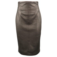GIANFRANCO FERRE Size 4 Black Textured Leather Belted Cutout Back Pencil Skirt