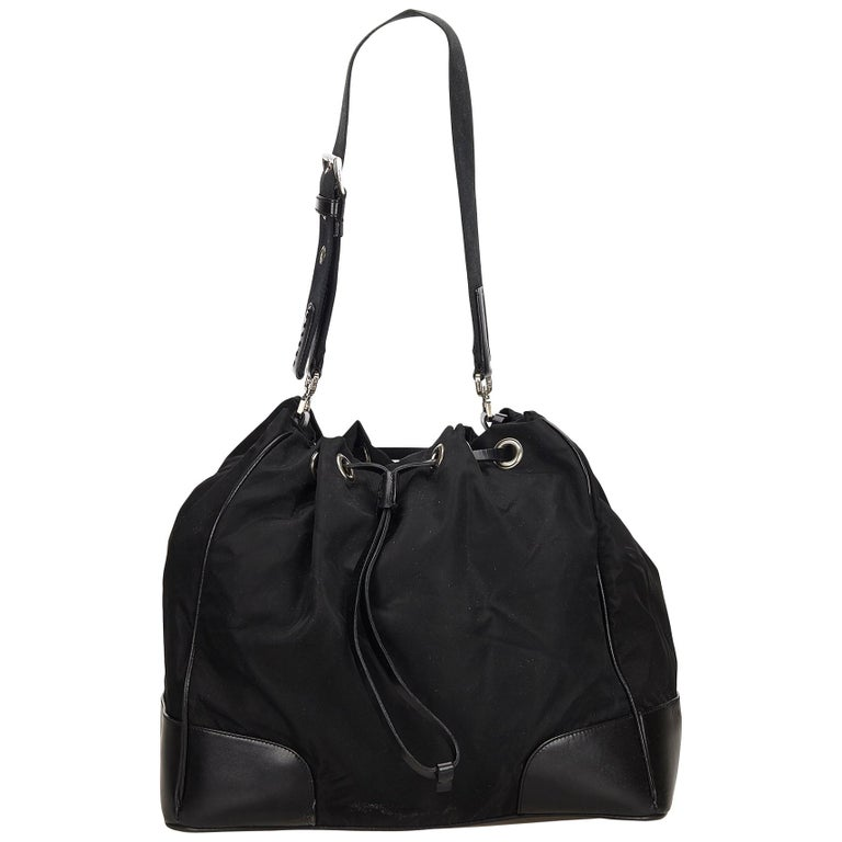 20f8da2b2d2a4f Prada Black Nylon Drawstring Shoulder Bag at 1stdibs