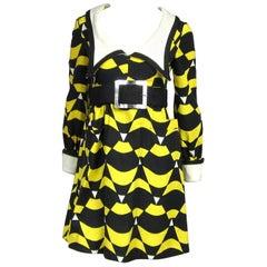 Mod Graphic Empire waist Yellow Black Midi Dress Mam'selle Betty Carol 1960s