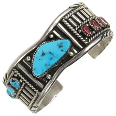 Navajo Sterling Sterling silver Coral Turquoise Mirror Image Cuff Bracelet