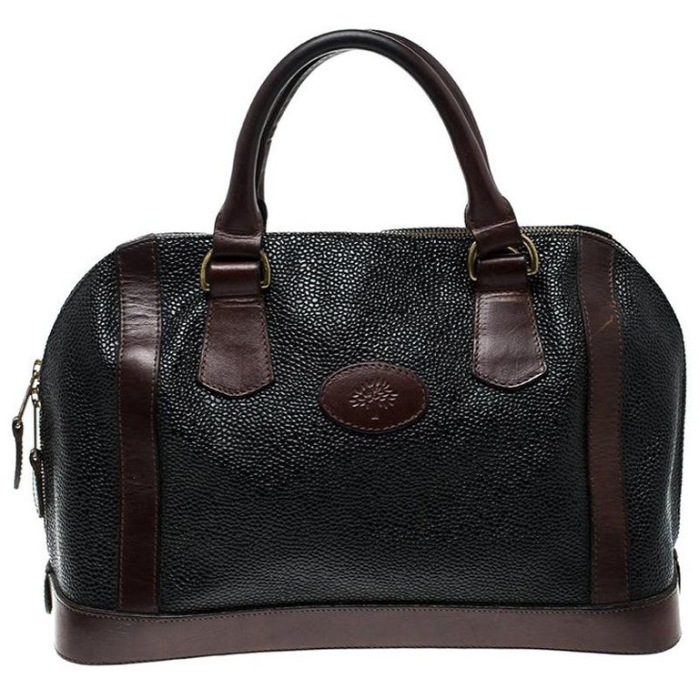1183eff365a Mulberry Black/Brown Scotchgrain Leather Vintage Satchel For Sale at ...