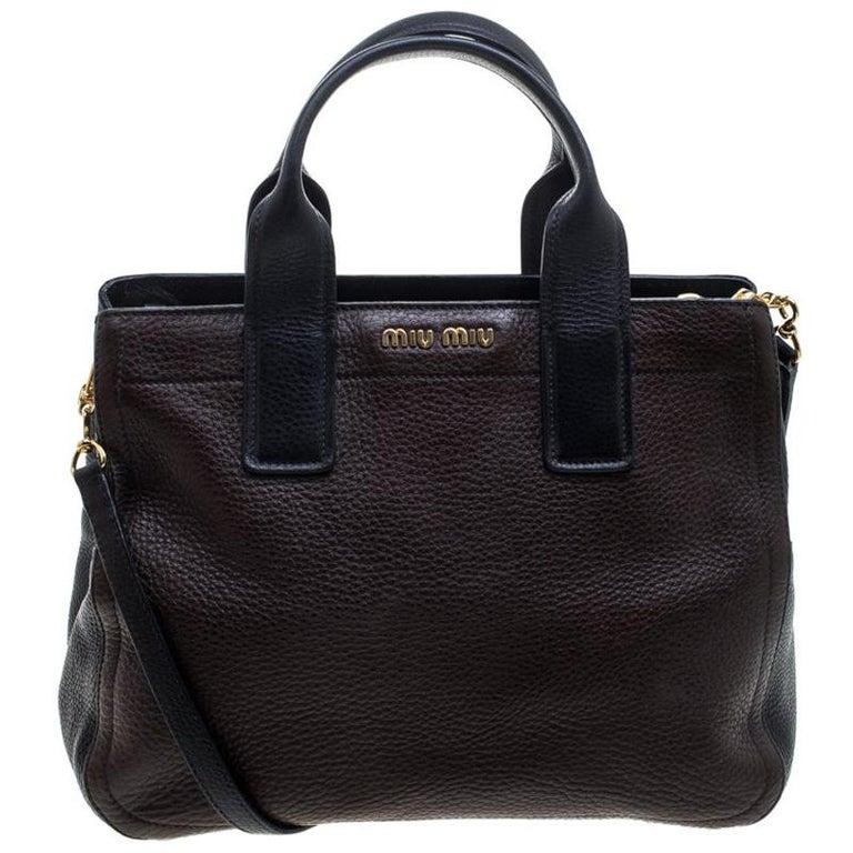 9886352b73ec Miu Miu Dark Brown Black Leather Caribou Top Handle Bag For Sale at ...