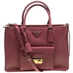 Prada Pink Saffiano Lux Leather Cargo Pocket Tote