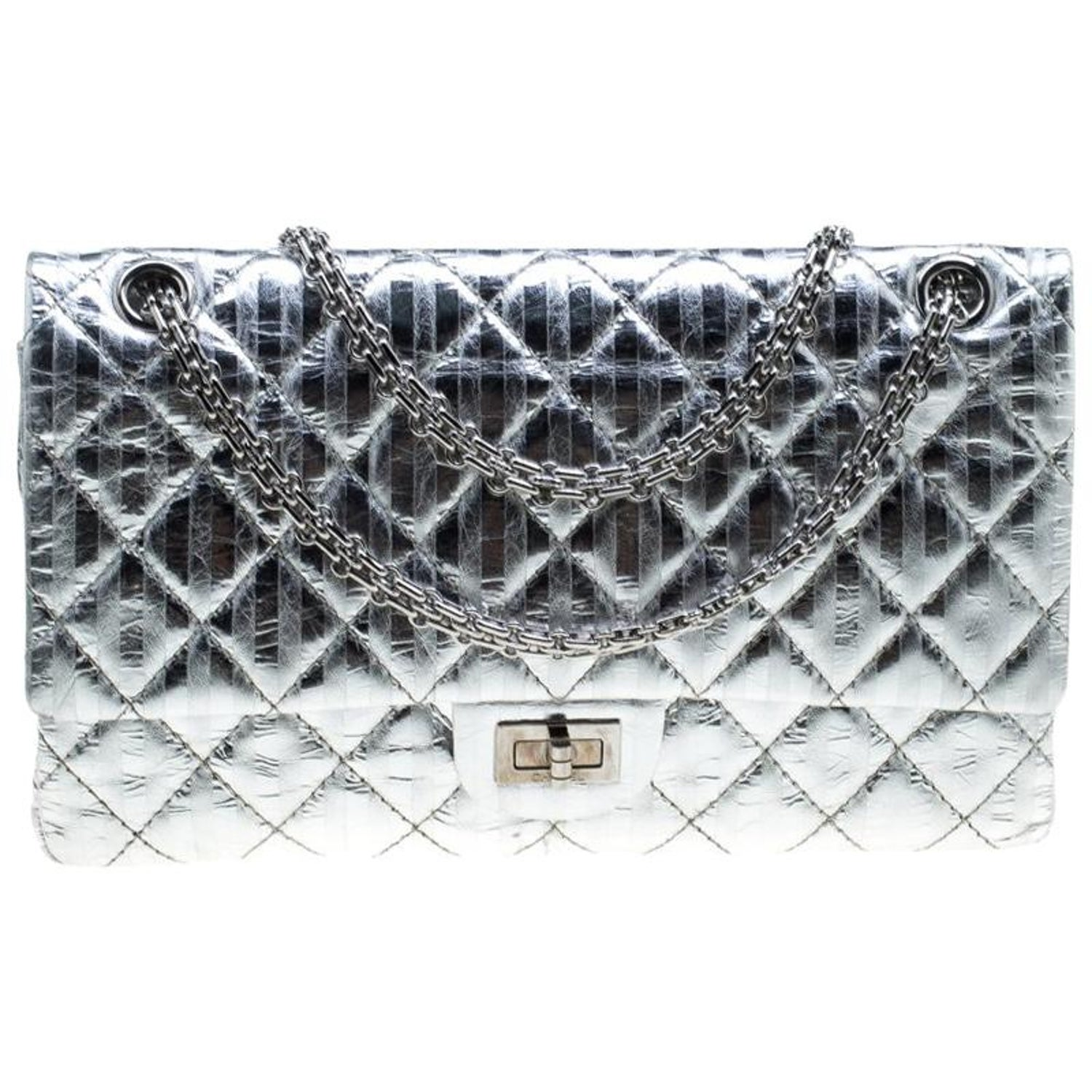 640792d4b895 Chanel Silver Quilted Leather Striped Reissue 2.55 Classic 226 Flap Bag For  Sale at 1stdibs