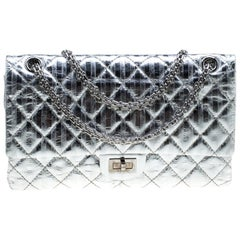 Chanel Silver Quilted Leather Striped Reissue 2.55 Classic 226 Flap Bag