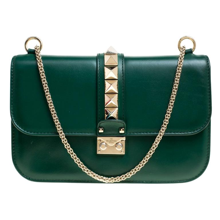 56dc9960d Valentino Green Leather Rockstud Medium Glam Lock Flap Bag For Sale ...