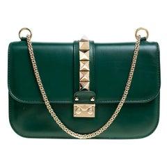 Valentino Grüne Leder Rockstud Tasche Medium mit Schloss