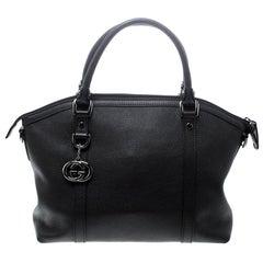 Gucci Dark Brown Leather Medium Britt Charm Dome Tote
