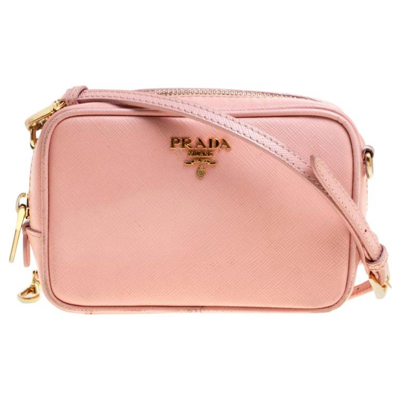 f16ef2a4c928c1 Prada Pink Saffiano Lux Leather Camera Crossbody Bag For Sale at 1stdibs