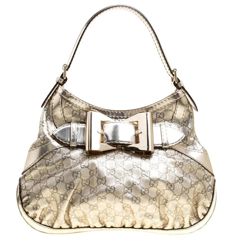 b0ec1b6032d Gucci Light Gold Guccissima Leather Medium Queen Hobo For Sale at ...