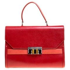 Oscar de la Renta Red Leather Top Handle Bag