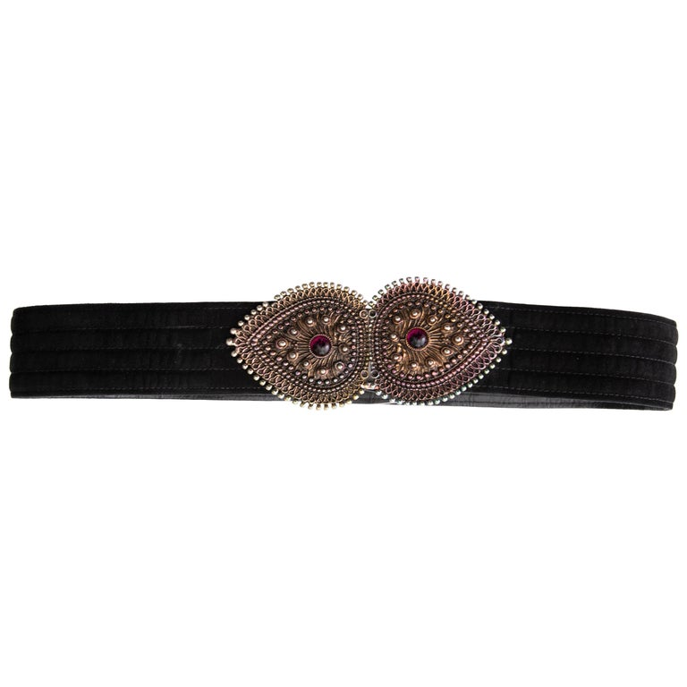 Yves Saint Laurent Black Suede Metal Glass Cabochons Belt, Circa: late 1980's For Sale